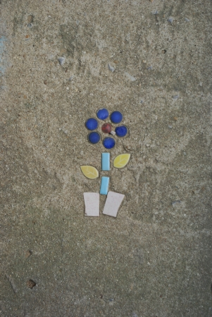 flower picture from colored tiles