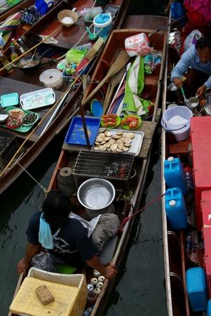 floating market: Floating market ,Ampawa ,Thailand Stock Photo