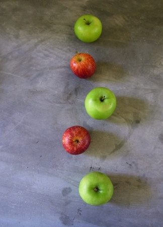 Apples , cement background Stock Photo