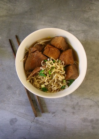 Noodle served with stewed duck and tofu. Stock Photo