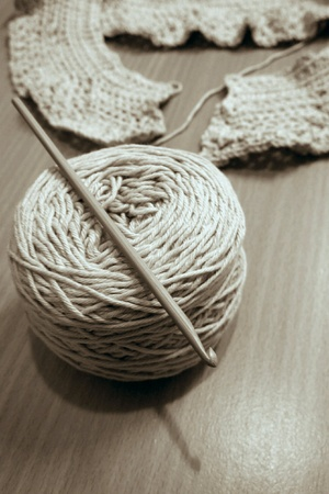 Chrochet hook on the cotton spun
