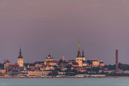Tallinn old town from distance in early morning