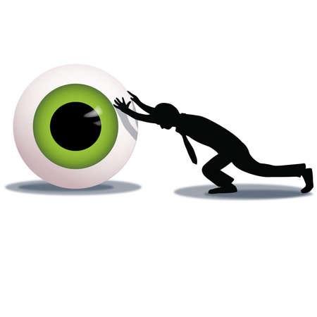 big brother spy: Hombre de negocios empujando globo ocular gigante