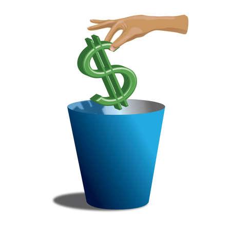 Throwing money away Ilustracja
