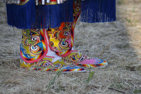 aboriginal woman: Beautiful and colorful Native American pow-wow footwear Stock Photo