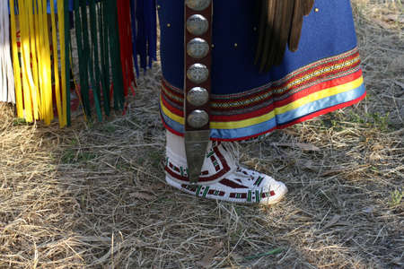 Close up of dance moccasins as used in Pow Wow dancing. Traditional Native American  American Indian regalia