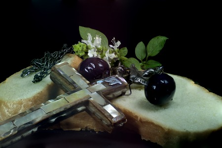 eternal life: Cross, bread and olives