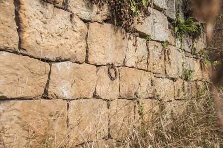 rustiness: stone wall with a metal ring