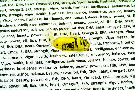 healthy llifestyle: capsule of fish oil, omega 3 EPA, DHA
