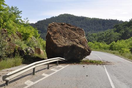 rock on the road - earthquake Stock Photo