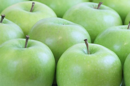 a close up on fresh green apples Stock Photo