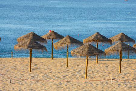 sunshades: View of straw sunshades