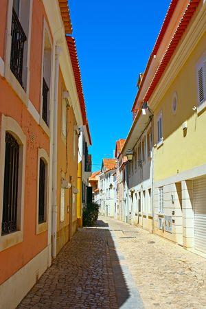 A narrow street in Lisbon, Portugal