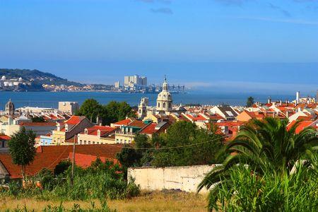 building monumental: Landscape of Lisboa, Portugal. Stock Photo
