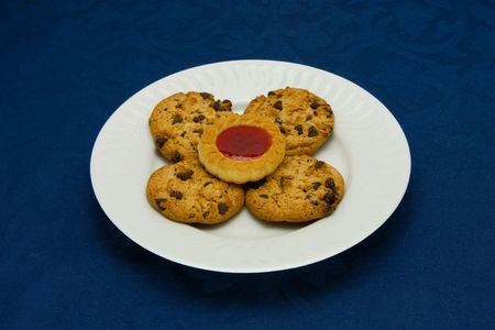 cookies on a Plate on a blue background