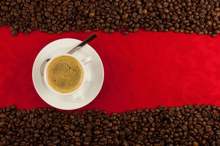 coffee cup from above with coffee beans Stock Photo