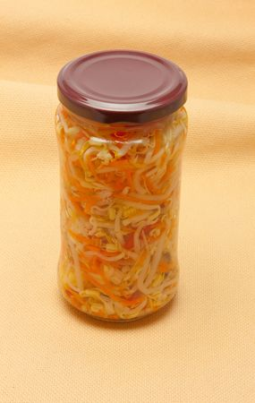 cymbling: Glas jars with marinated vegetables  isolated on the white background Stock Photo