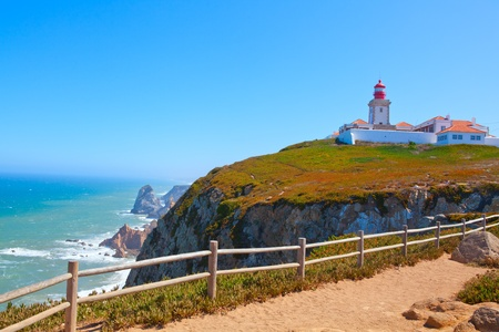Roca cape lighthouse in Portugal, West most point of Europe ( Cabo da Roca) Stock Photo