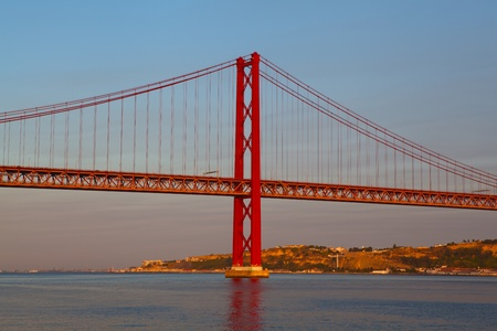 The 25 de Abril Bridge is a suspension bridge on river Tejo, Lisboa. Stock Photo - 10201370
