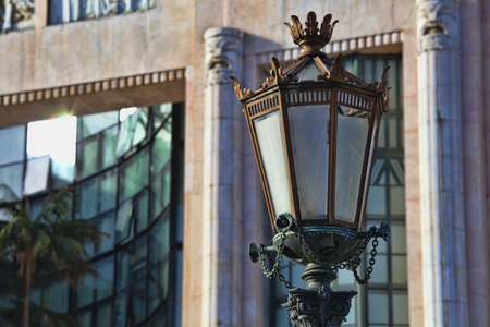 typical: Typical metal street lamp at Lisbon Portugal. Stock Photo