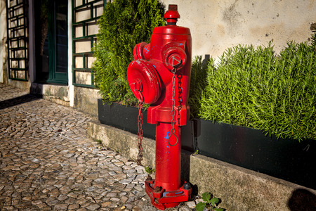 A closeup red fire hydrant on a street