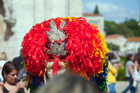 Lisbon, Portugal - May 6, 2017: Parade of costumes and traditional masks of Iberia at the XII International Festival of Iberian Masks Editorial
