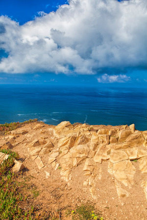 Atlantic ocean from Cabo da Roca, the western point of Europe, Portugal. Stock Photo