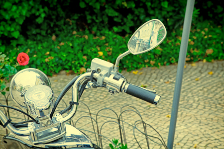 Closeup of a motorcycles instrument cluster. vintage effect. Stock Photo