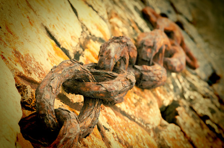 Anchor chain of a vessel on a mooring selective focus
