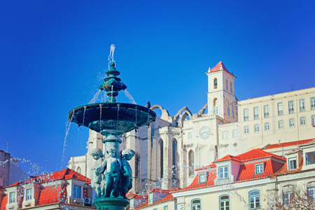 Sculptures at  fountain in Rossio Square, Lisbon, Portugal