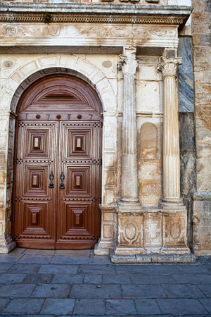A beautiful wooden portal of a church