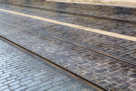 Tram tracks in the LISBON, a detail metal rails for the tram Stock Photo
