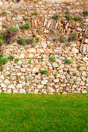 background of stone wall with green grass