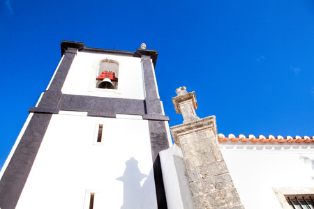 A church in Obidos, Portugal. Obidos is a medieval town inside walls