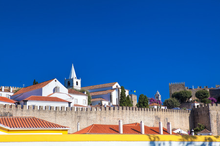 view of medieval town Obidos on a beautiful summer day Stock Photo