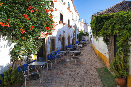 lamp shade: Narrow street in the medieval Portuguese City of Obidos