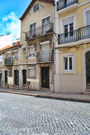 typical: Street  in old town of Lisbon, Portugal Stock Photo