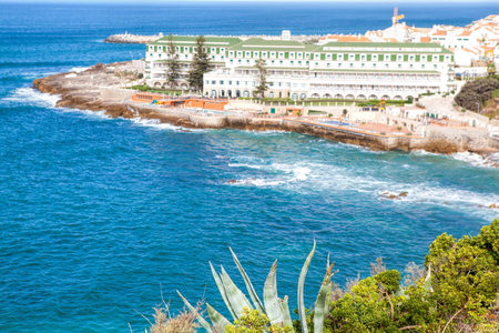 Portuguese Atlantic coast. Beach and rocks of Ericeira Stock Photo