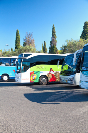 LISBON, PORTUGAL - SEPTEMBER 13 . 2017 . view of parked tour buses in Lisbon Editorial