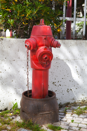 Red fire hydrant in  Lisbon Portugal