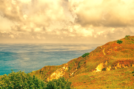 Beautiful scenic of portuguese coastline in Roca Сапе Stock Photo