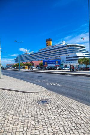 LISBON, PORTUGAL - SEPTEMBER 14 . 2017 . Large luxury cruise ship Costa Magica docked at Lisbon