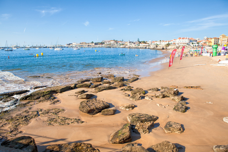 CASCAIS, PORTUGAL - SEPTEMBER 24 . 2017 . View of a beach in the touristic village