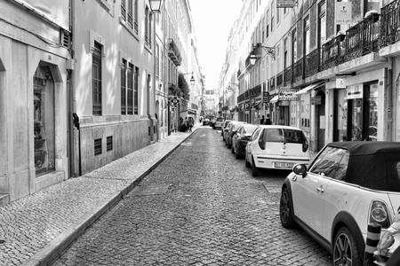 LISBON, PORTUGAL - 29.10.2017: City street at day time. Black-white photo .