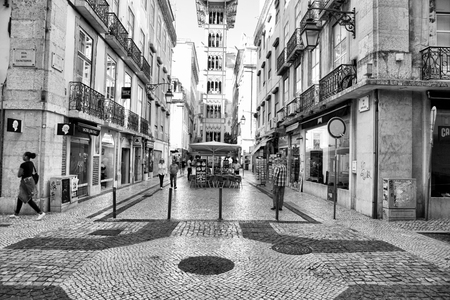 LISBON, PORTUGAL - 29.10.2017: City street at day time. Black-white photo .
