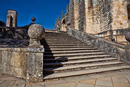 exterior view of the round fortified templars church in Tomar - Portugal