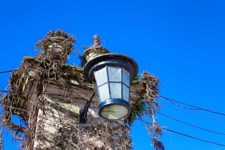 close up old street light in Томар Portugal . Stock Photo