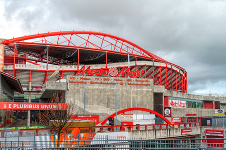 LISBON, PORTUGAL - APRIL 05, 2018: Exterior of the Estadio da Luz (Stadium of Light), home stadium for the S.L. Benfica. It was built for the EURO 2004 에디토리얼