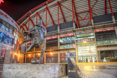 LISBON, PORTUGAL - APRIL 04, 2018 : Exterior of the Estadio da Luz , home stadium for the S.L. Benfica. It was built for the EURO 2004
