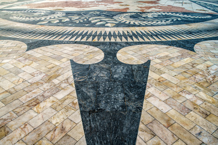 The mosaic of the Portuguese maritime discoveries at the Monument to the Discoveries. District of Belem in Lisbon